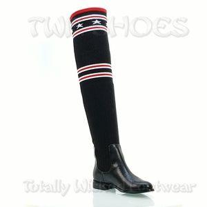 Black Red OTK Riding Sock Boots